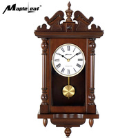 Large Hourly Chime Antique Wooden Pendulum Clock Wall Clock for for Wall and Home and Living Room Decoration