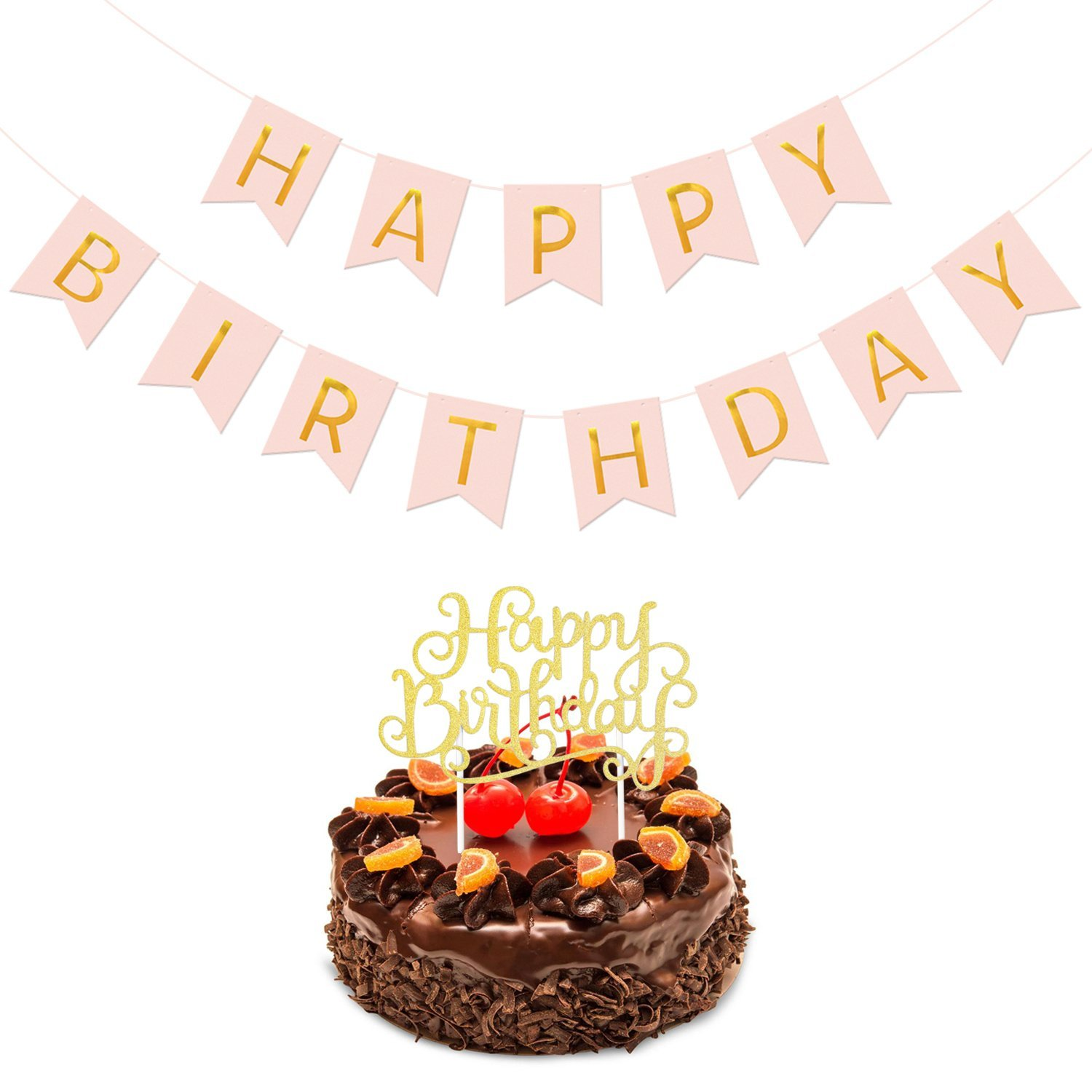 Happy Birthday BannerHappy Cake Topper Bundle Konsait Pink And Gold Party Decorations