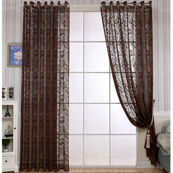 Fancy 100 Polyester Leaf Pattern Sheer Curtain Window Gauze Product On Alibaba