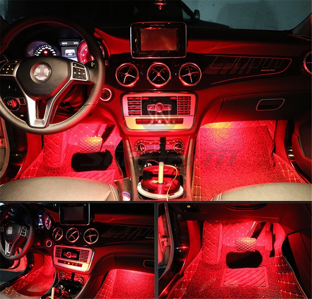 4pcs Car Led Interior Underdash Lighting Kit W Sticker Light Auto