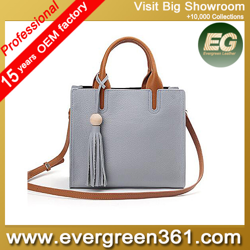 Designer leather handbags tassel fashion office ladies' bags china woman tote bags EMG4690