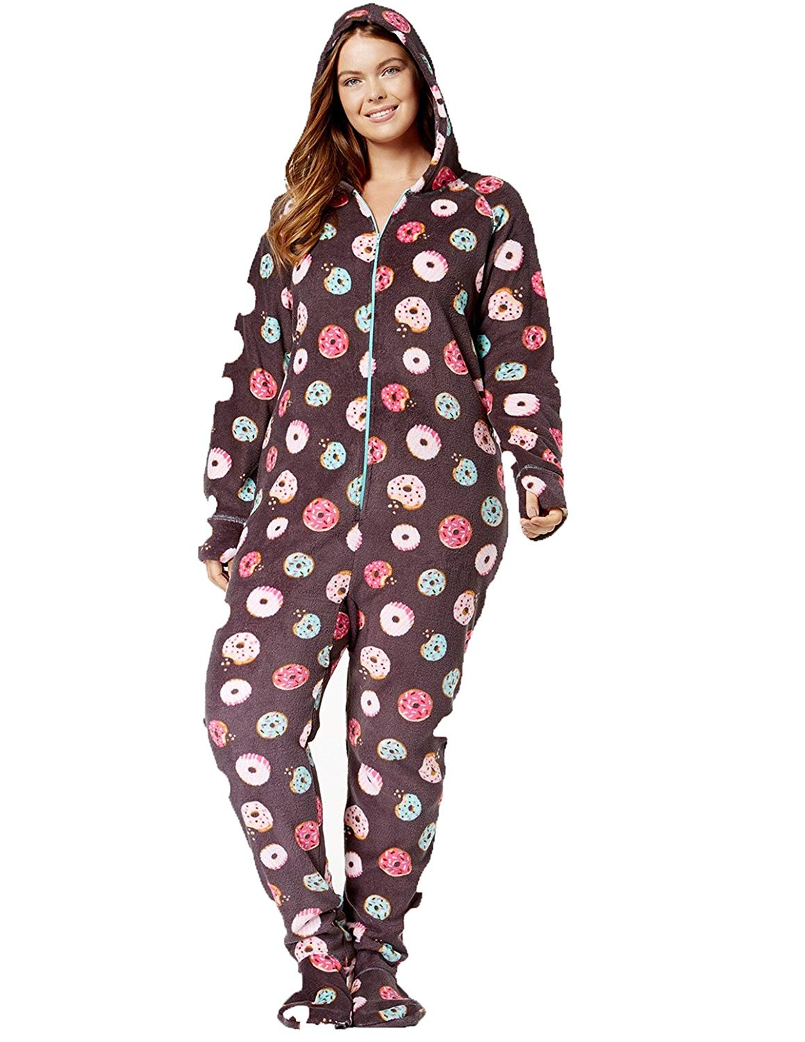 07f49f5052e Jenni by Jennifer Moore Hooded Footed Printed Pajama Jumpsuit. Size   XLarge. Color Grey