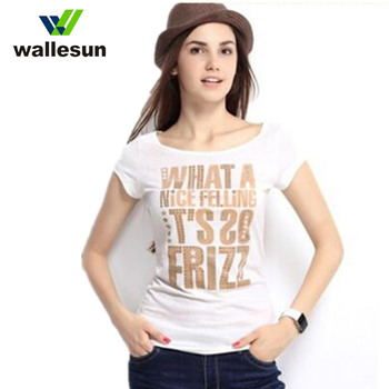 Custom gold and silver stamping hot stamp printing women t shirt