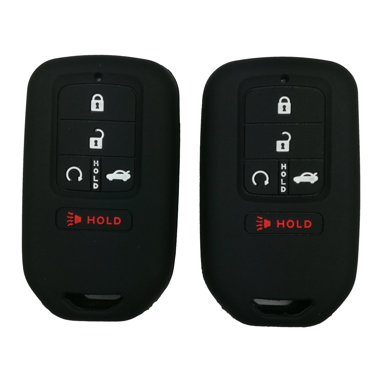 2Pcs Coolbestda Silicone Full Protective Key Fob Remote Cover Case Skin Jacket for A2C81642600 2015 2016 2017 Honda Civic Accord Pilot CR-V 5 Buttons Smart Key Black