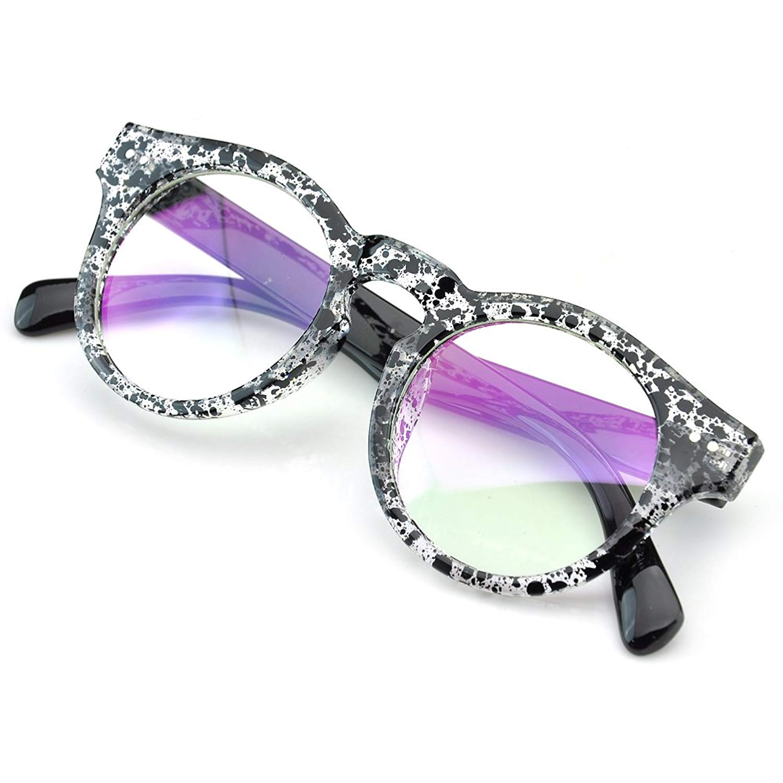 PenSee Vintage Inspired Circle Round Horned Sunglasses Eyeglasses Frame