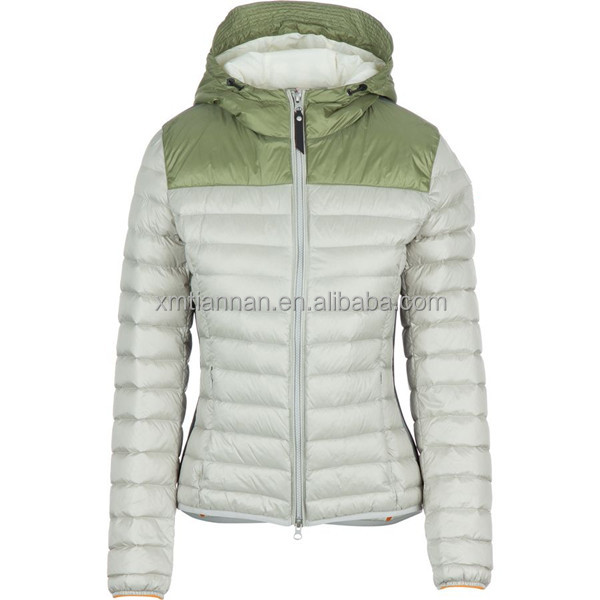 Adjustable hood elastic hem and cuffs 90% down 10% feather Polyamide shell and lining womens down jacket