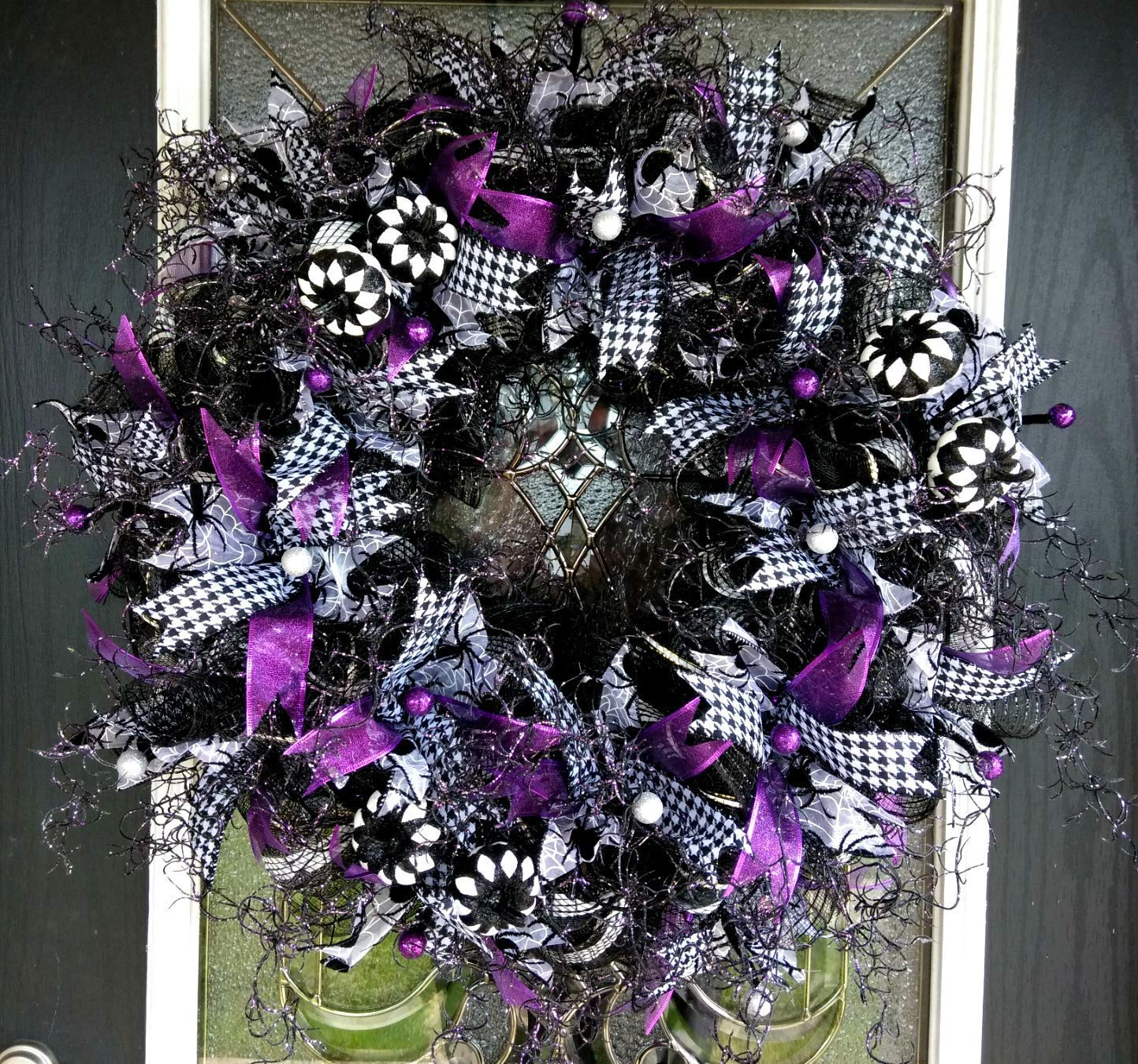 Darling Purple Black & White Halloween Front Door Deco Mesh Wreath, Whimsical Porch Patio Yard Decoration