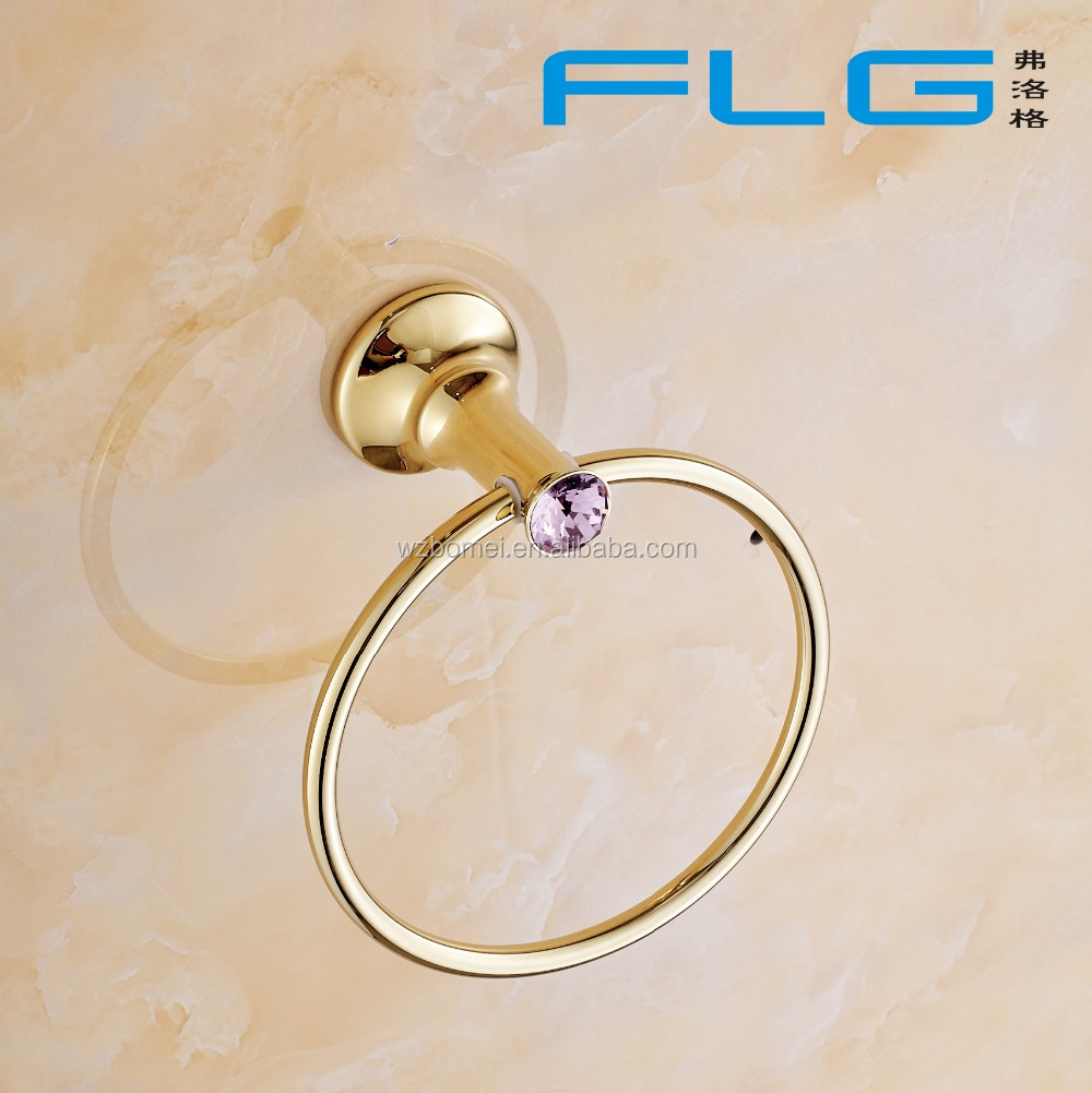 Household Hotel Bathroom Accessories Wall Mounted Gold Towel Ring