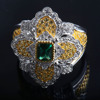 2018 new arrival luxury ring, green sapphire main stone 925 silver ring, italian design fashion rings