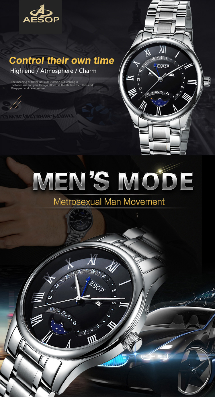 Aesop custom logo mechanical chronograph movement mens waterproof watch stainless steel bracelet mens automatic watch