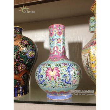 Chinese Antique Reproduction Heavy Famille Rose Porcelain Vases