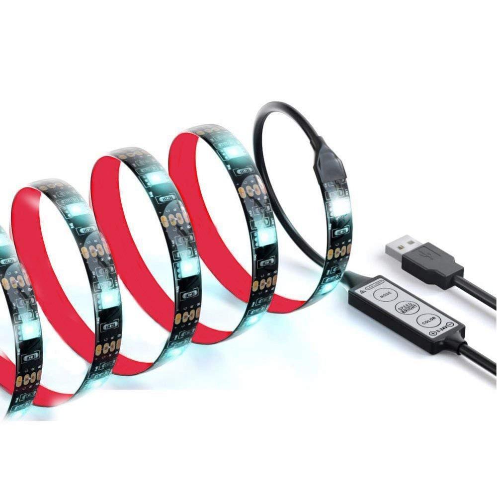 Bias Lighting  100CM TV 5V USB Led Strip Lights Kits SMD 5050 Multi Color RGB   Waterproof with Mini Dimmer 3 Keys Controller