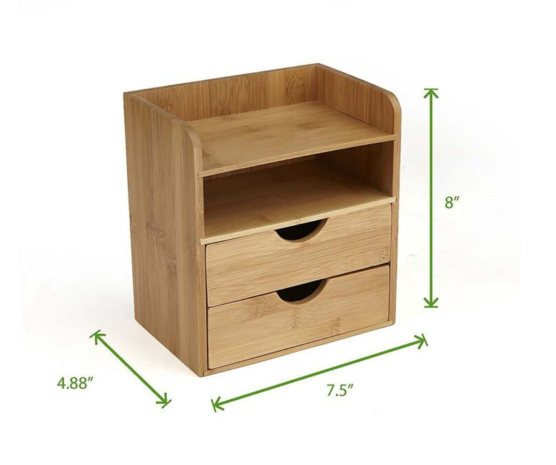 Eo-friendly Smooth Wooden Mini Simple Desk Organizer 2 Shelf and 2 Pull Out Drawers