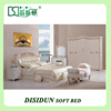 Carving wood leather Upholstered bedroom set, royal classic European design queen white leather bed