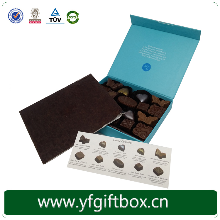 High end custom made paper cardboard chocolate gift box with collection menu description