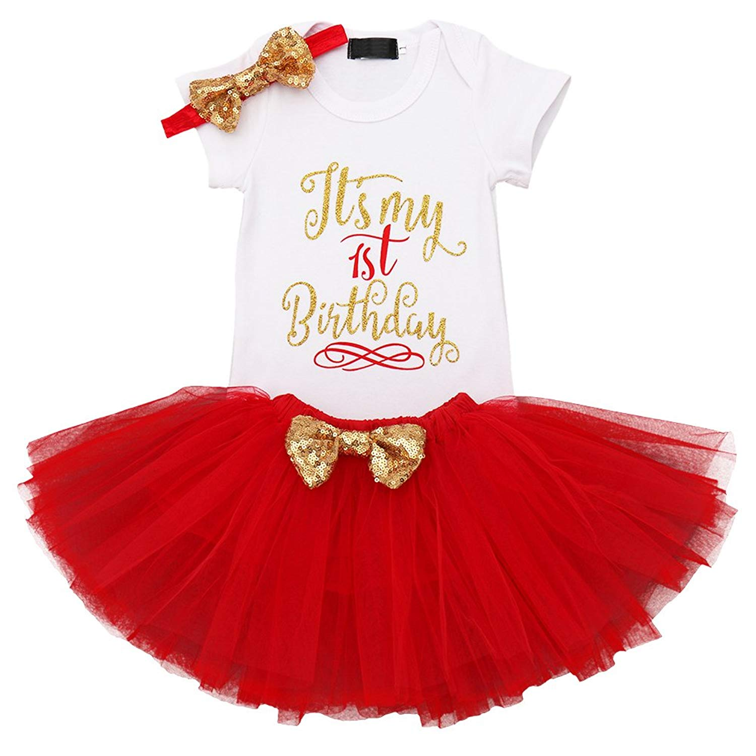 afd412c3082 Get Quotations · It s My 1st Birthday Baby Girl Outfits Romper Tutu Skirt  Glittering Sequin Headband 3PCS Set