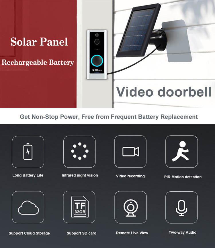 1080 P Wireless Solar Camera Security Surveillance IR Nachtzicht Draadloze Wi-fi Security Surveillance Outdoor Video Deurbel