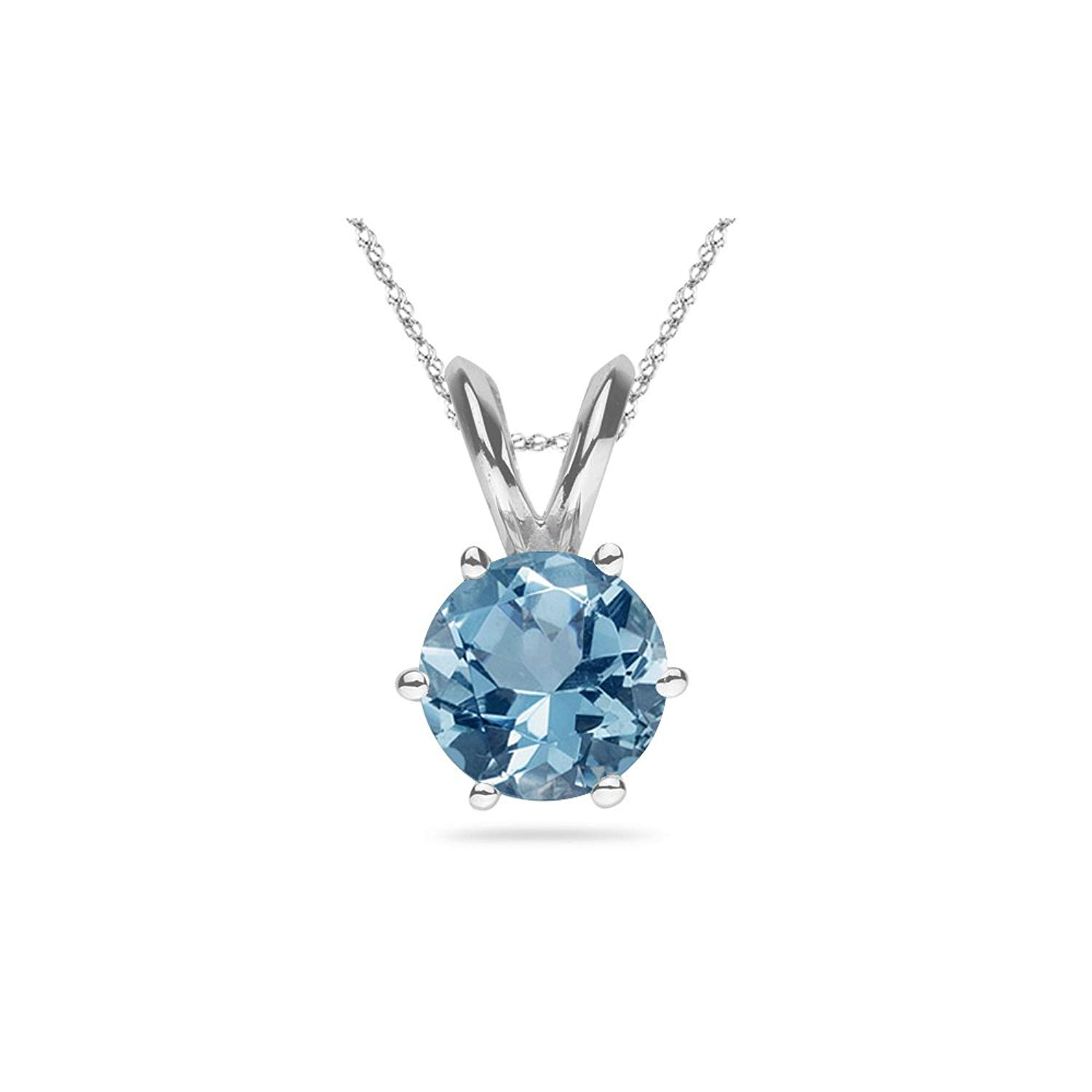 3e7f8be3dd4 Get Quotations · 1.60 Cts of 7 mm AAA Round Aquamarine Solitaire Pendant in 14K  White Gold