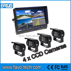 DC12/24V Car Camera Backup System with 10.1 inch quad monitor