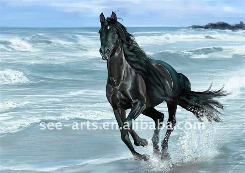 black running horses animal oil painting on canvas