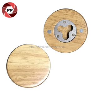 Custom fridge magnet round wood bottle opener
