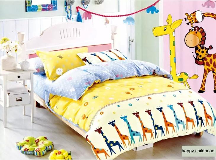 Heureux Girafe 100 Coton Ensemble De Literie Imprime Pour Fille