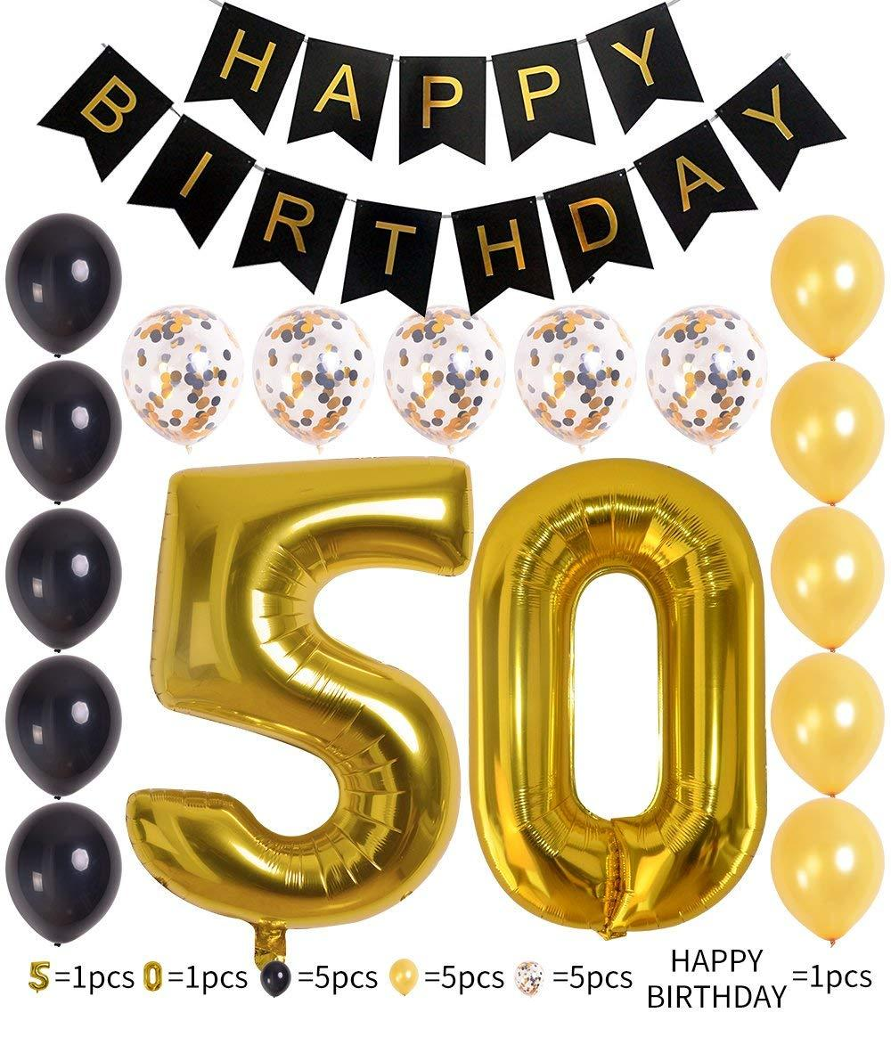 18PCS 40Inch Bright Gold Number 50th Birthday Decorations 12 Inch Foil Mylar Balloon Banner Set Happy Black
