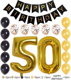 18PCS 40Inch Bright Gold Number 50th Birthday Decorations 12 Inch Foil Mylar Balloon Banner Set Happy