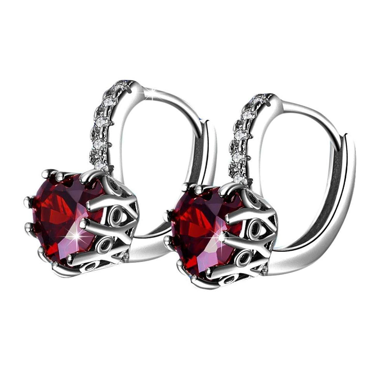 Gyoume 1 Pair Women Diamond Ear Stud Earrings Girl Heart-Shap Jewelry Gift for Girls
