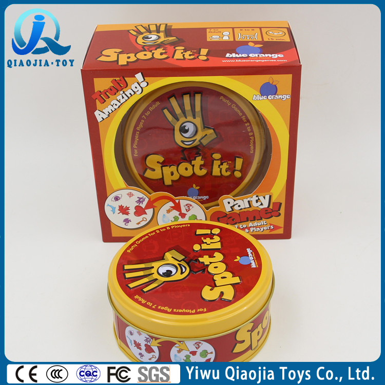 China Toys Factory High Paper Quality Card Game With Metal Box, Spot It Game Board Game For Children