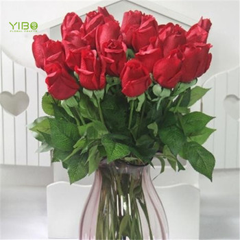 Hot Sale Single Stem Real Touch Rose Bud Artificial Red Flowers