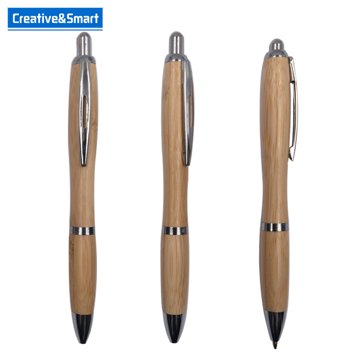 Wholesales good quality eco bamboo recycled personalized retractable pen promotional wood pen