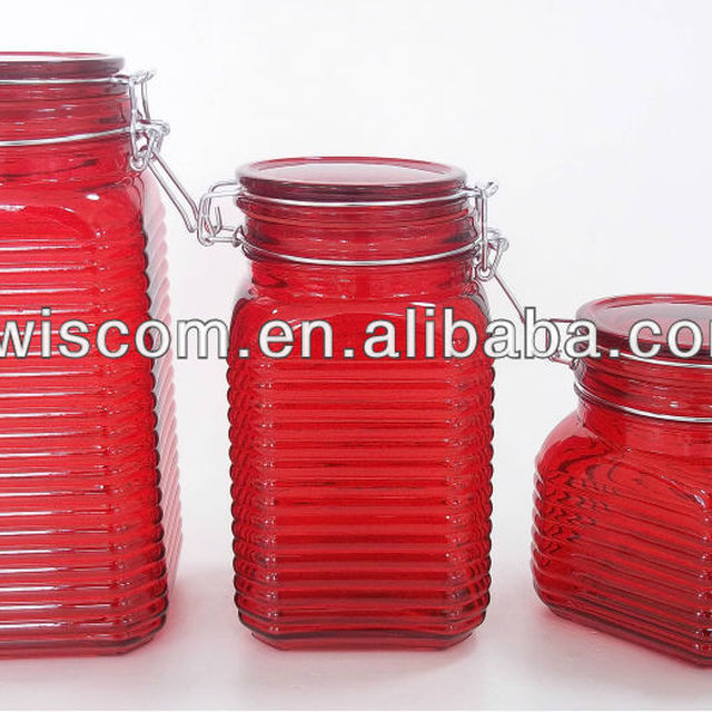 Merveilleux Red Glass Storage Jar With Glass Lid And Metal Clip