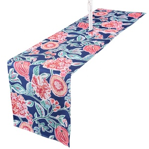 Oilproof printed blue flower outdoor table runner printing waterproof zipper table runner