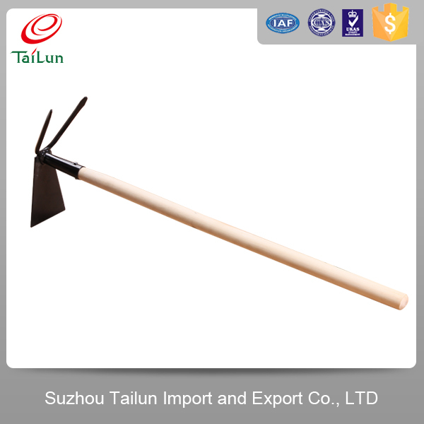 long wooden handle digging hoe
