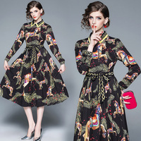 Real shot spot QP3369073# spring and autumn new French ribbon shirt collar pleated skirt vintage flower dress