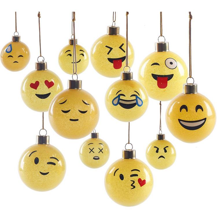 Unique Handmade Glass Emoji Christmas Balls Christmas Tree ...