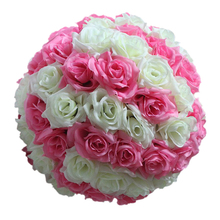 12 inch Artificial Rose Satin Pomander Kissing Balls for Home Wall Wedding Party Ceremony Decoration ,Yellow
