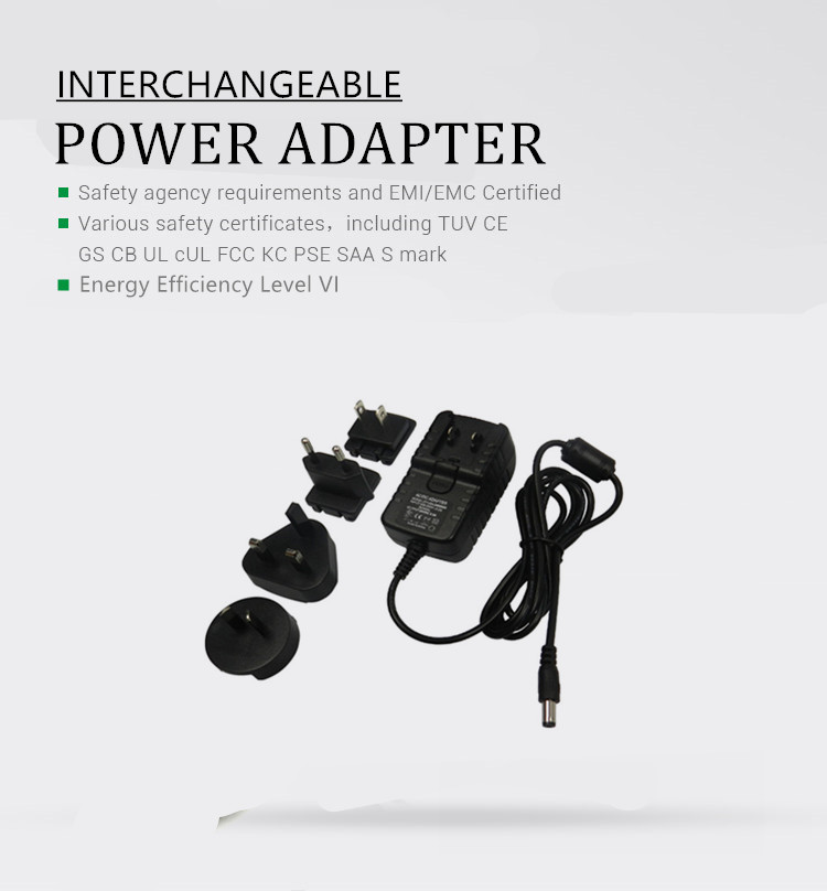 2018 12V Interchangeable Travel AC DC Adapter 12v 2a 24w Wall power Adaptor With global certification