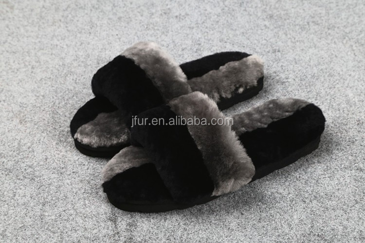 Wholesale Women Fashion sheep Fur slipper on Real Fur Trim Shoes for lady