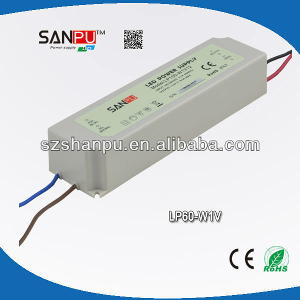 SANPU hot selling CE ROHS approval high quality 2 years warranty waterproof IP67 5a 60W 12v dc pc power supply