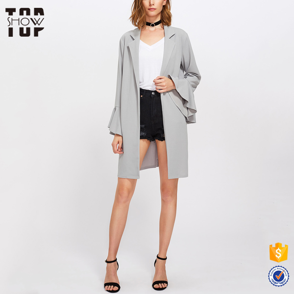 Wholesale notch collar long denim coat for women coat model women coat