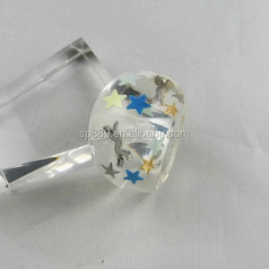 Fashion hot sell resin glitter ring colorful children rings stars plastic ring jewelries