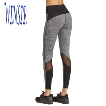 Women Heather Grey body up fitness wear Mesh Calf Leggings Pants