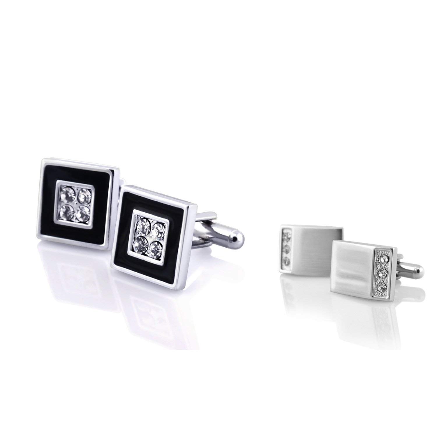 INSTEN 2 Packs of Cufflinks - Silver Rectangle with 3 Rhinestones, Black/Silver Square with 4 Jewels