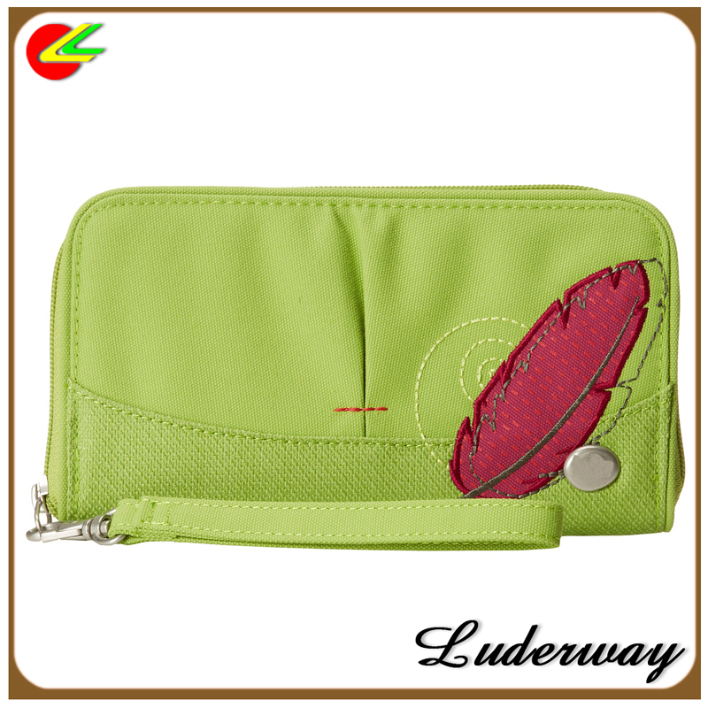 Green 100%polyester lady wallet