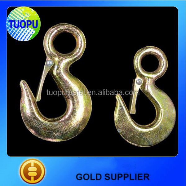 China cheap Red Powder Painted 320 Alloy Steel Drop Forged Lifting eye hooks with latches US eye hook with latches 320