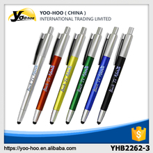 2017 New design Colored plastic touch ball pen with LED light logo