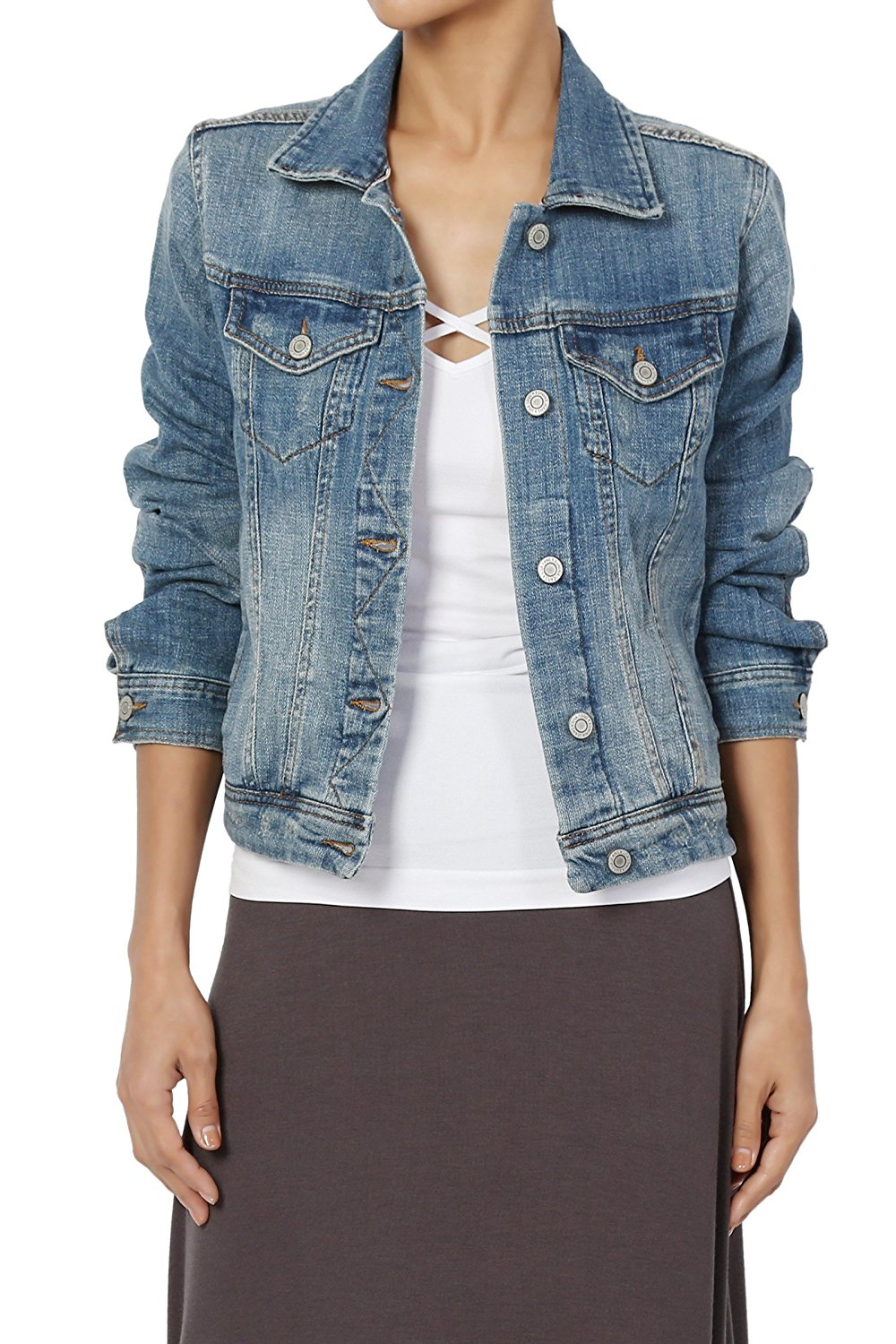 0dcd521768761 Get Quotations · TheMogan Women s Vintage Blue Stone Washed Denim Cropped  Jean Jacket
