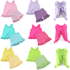 2018 new design summer boutique set kids outfit wholesale children baby girls sleeveless ruffled cute cheap Kid Clothes